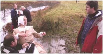 Advising Tony Robinson on the history of the ducking stool. 'Worst Jobs in History', Channel 4